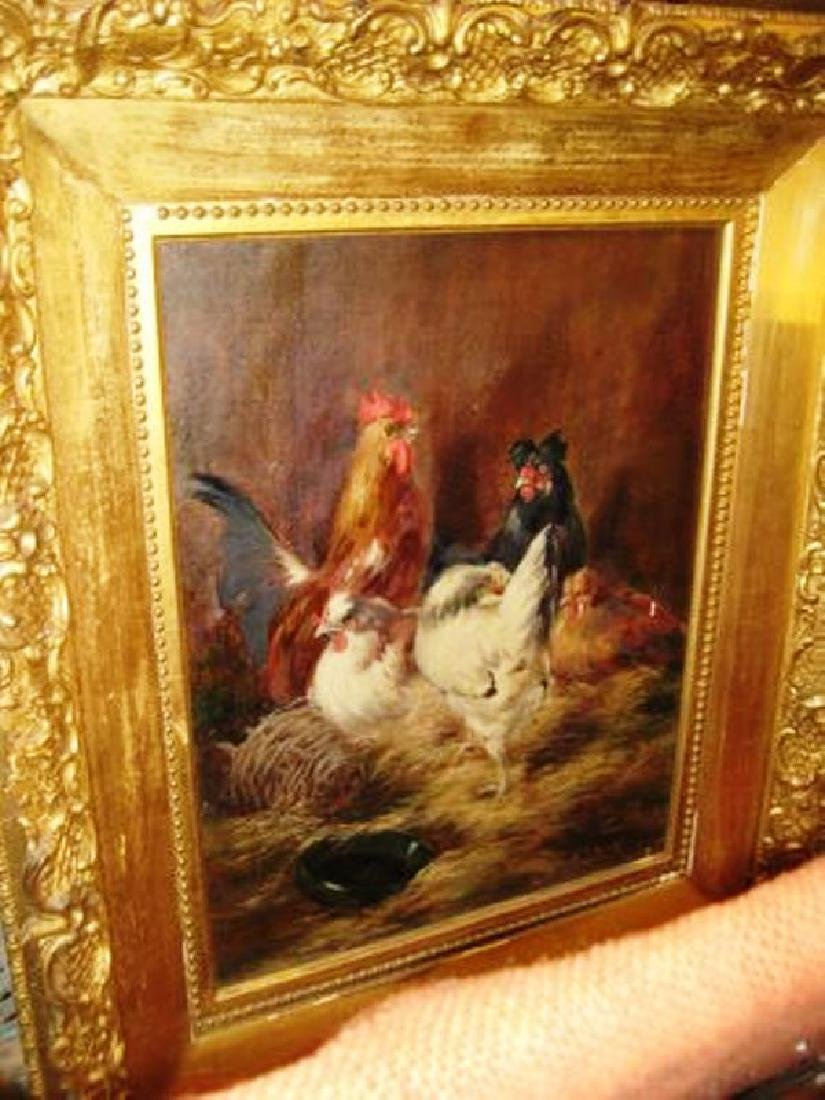 20th c Oil on Canvas Barnyard Scene