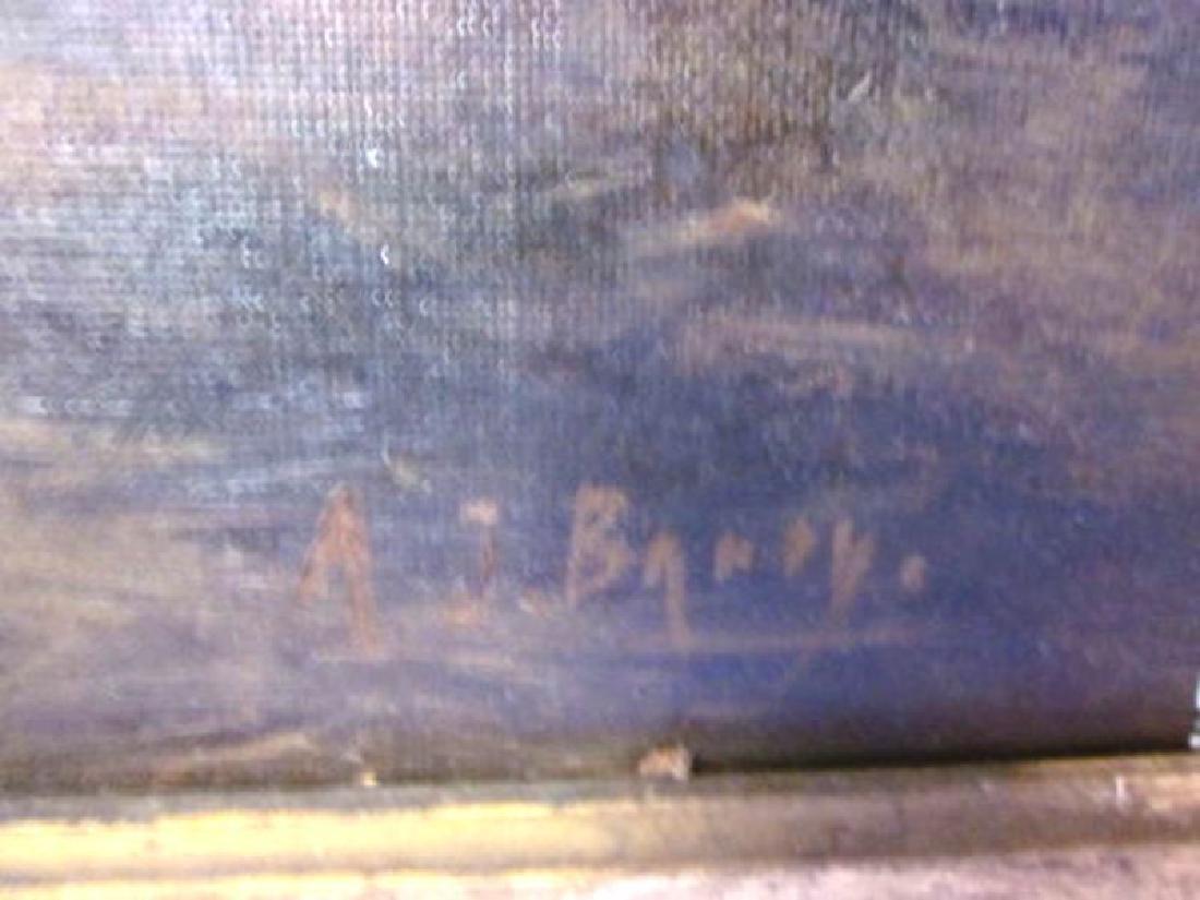 20th c Oil on Canvas Barnyard Scene - 2