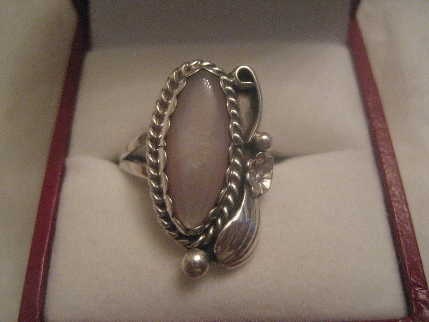 1: Navajo Sterling Silver w/ Pink Shell Ring by Begay