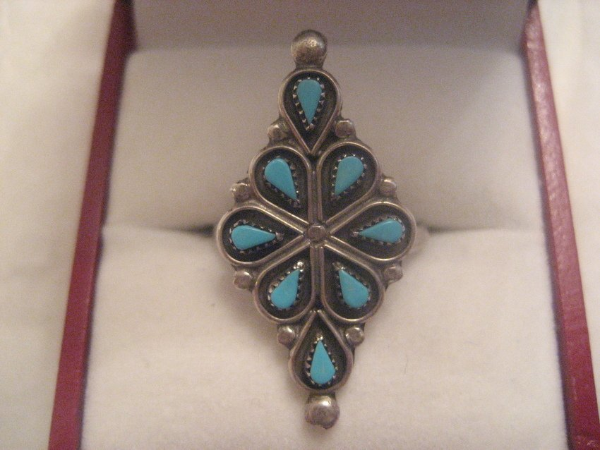 2: Navajo Sterling Silver Needlepoint Turquoise Ring