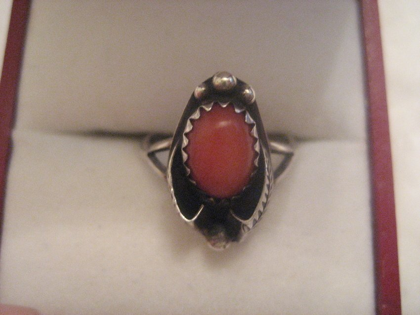 6: Navajo Sterling Silver Ring w/ Pink Coral