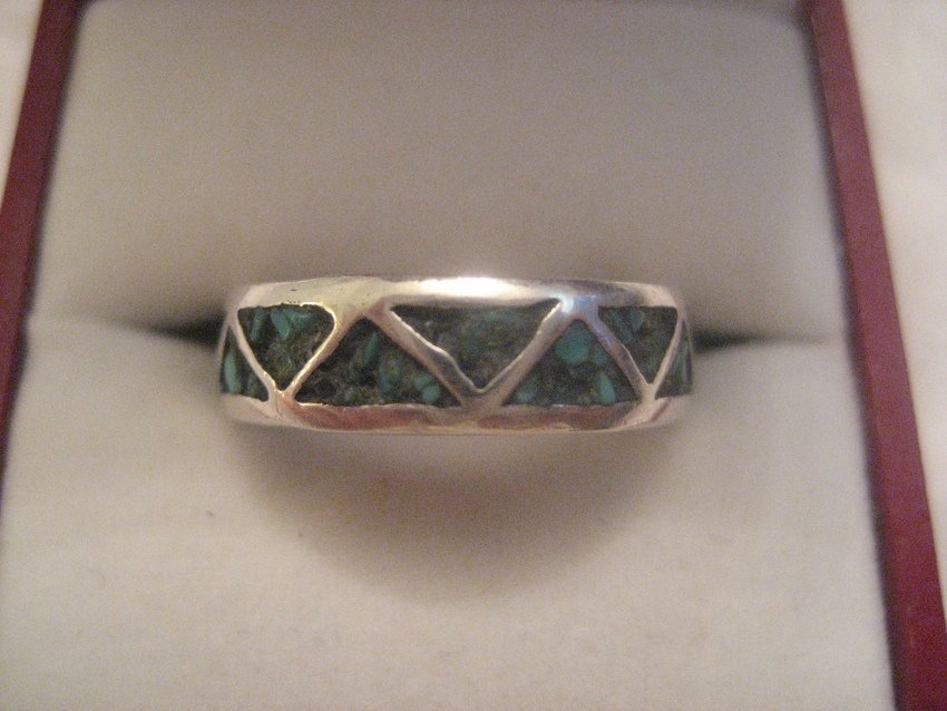 7: Zuni Sterling Silver Turquoise Band