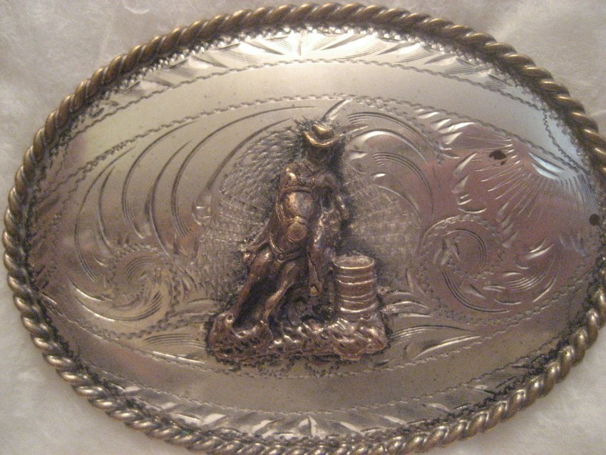 14: Tex Tan Sterling Silver Face Belt Buckle