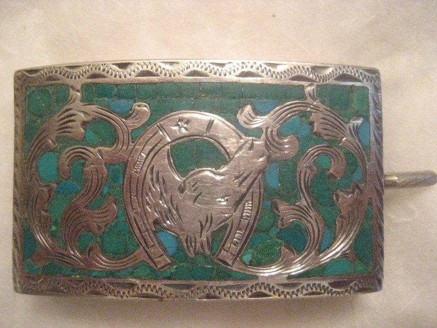 16: Sterling Silver Turquoise w/ Horse Buckle