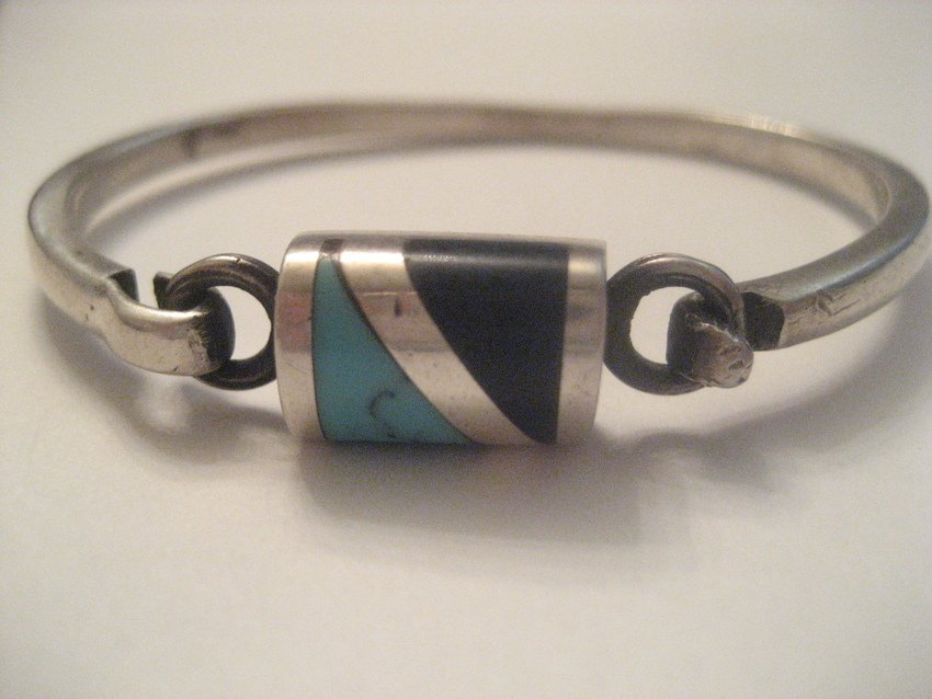 17: Sterling Silver Bracelet w/ Turquoise, Onyx