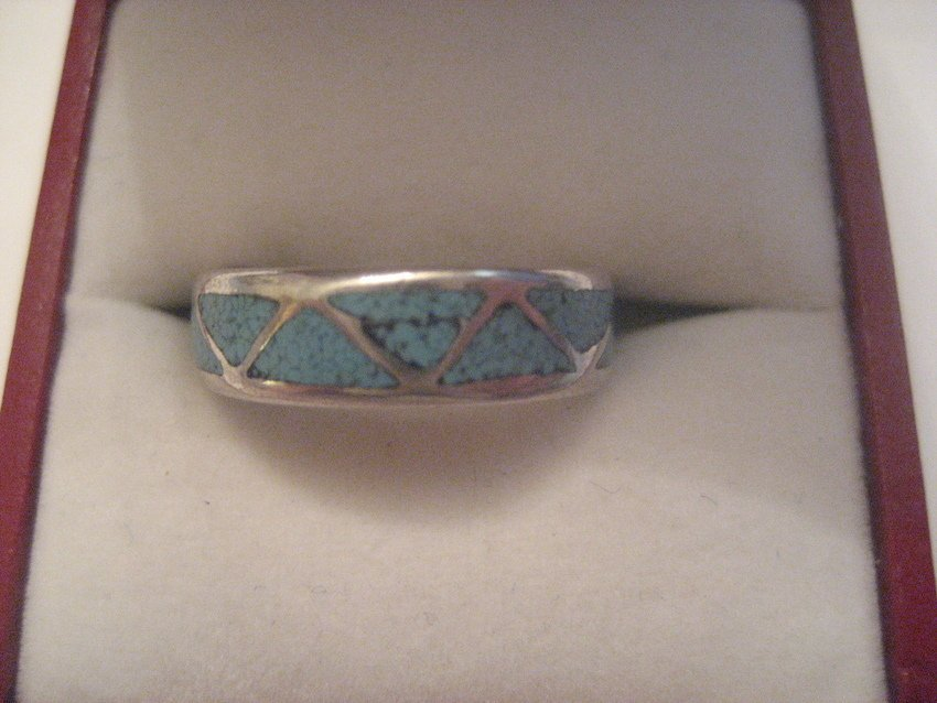 18: Sterling Silver Zuni Turquoise Band