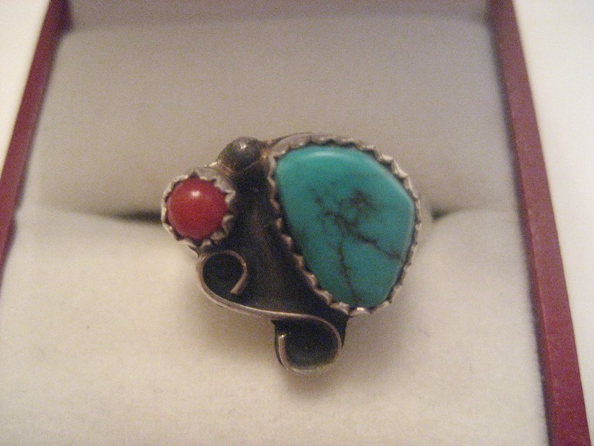 19: Sterling Silver Turquoise & Coral Ring