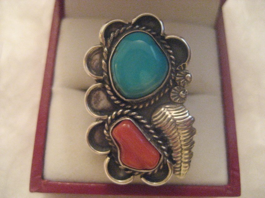25: Navajo Sterling Silver Coral & Turquoise Feather Ri