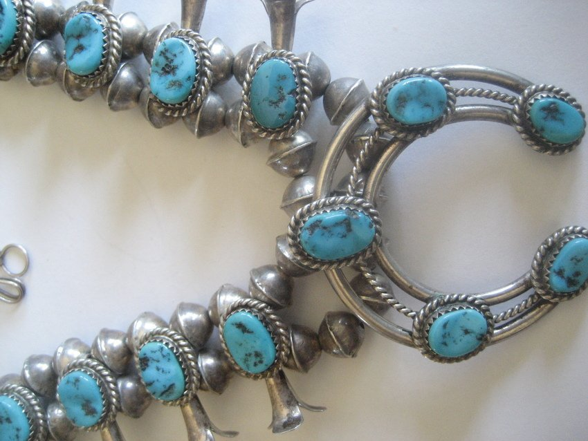 86: Sterling Silver Turquoise Squash Blossom Necklace