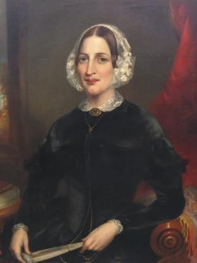 JOHN L. HARDING OIL PORTRAIT OF A LADY DATED 1849