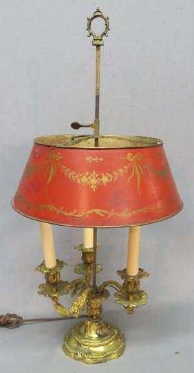 FRENCH ORMOLU BOUILOTTE LAMP WITH TOLE SHADE