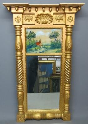 TWO SECTION GILT FRAMED MIRROR