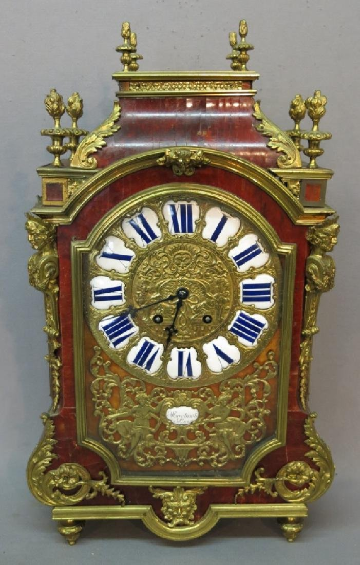 FRENCH TORTOISE SHELL MANTLE CLOCK BY MARTINOT