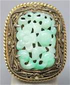 CHINESE CARVED JADE AND SILVER VERMEIL RING