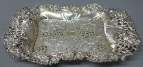STERLING SILVER ASPARAGUS TRAY WITH PIERCED INSERT