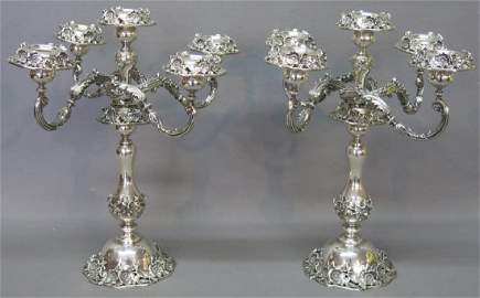 PAIR OF EXCEPTIONAL STERLING SILVER CANDLEABRUM