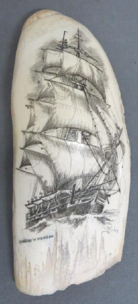SCRIMSHAWED WHALES TOOTH OF THE C.W. MORGAN