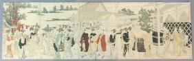 FIVE PART JAPANESE WOODBLOCK  PRINT OF COURT SCENE