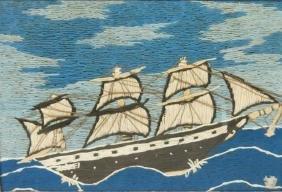 FOLK ART WOOLIE OF A SHIP