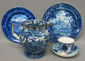 LOT OF ENGLISH BLUE TRANSFER CHINA
