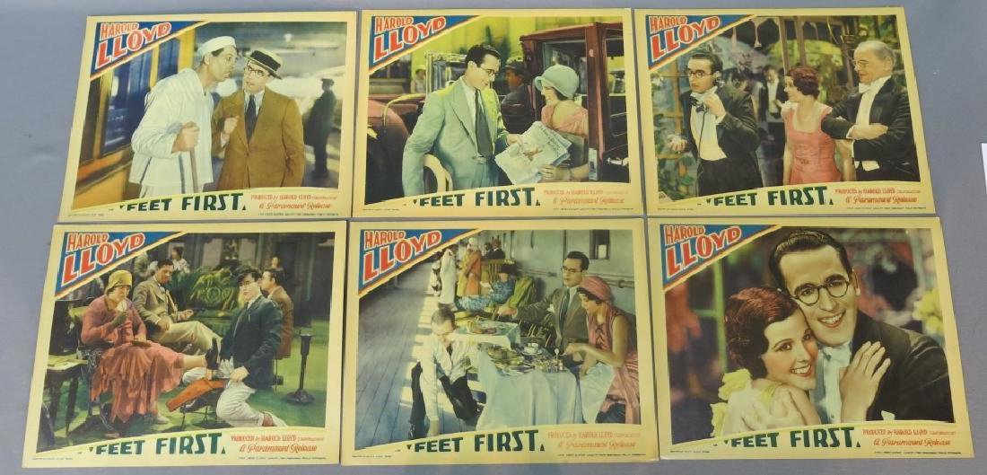 "SIX HAROLD LLOYD ""FEET FIRST"" LOBBY CARDS"