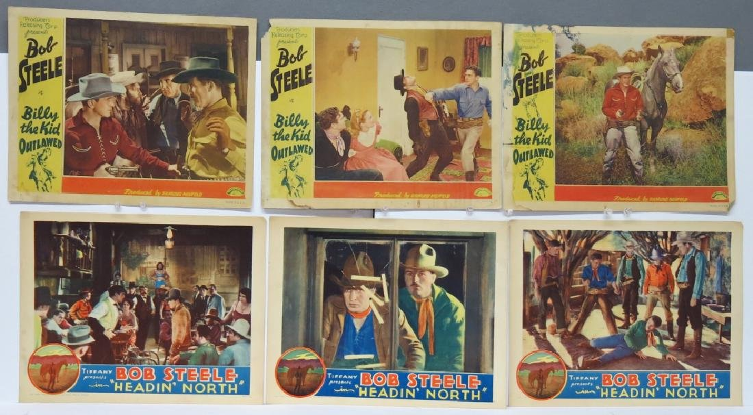 LOT OF 12 WESTERN MOVIE LOBBY CARDS - BOB STEELE