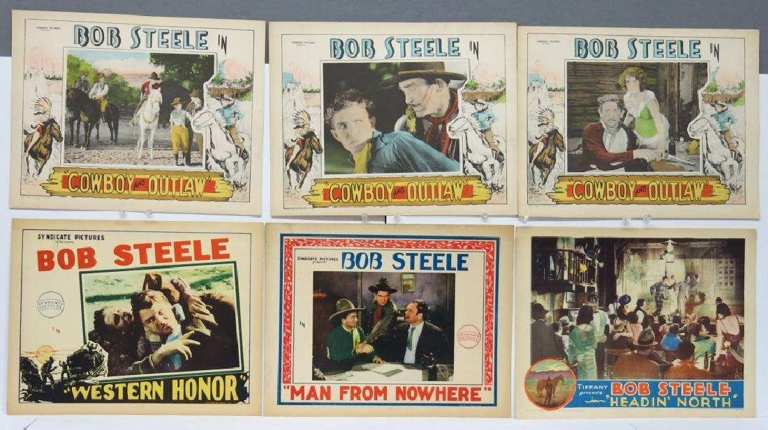 LOT OF 12 WESTERN MOVIE LOBBY CARDS - BOB STEELE - 2