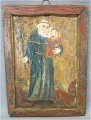 SPANISH COLONIAL RETABLO OF SAINT ANTHONY OF PADUA
