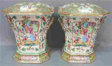 PAIR CHINESE CANTON FAMILLE ROSE BOUGH VASES