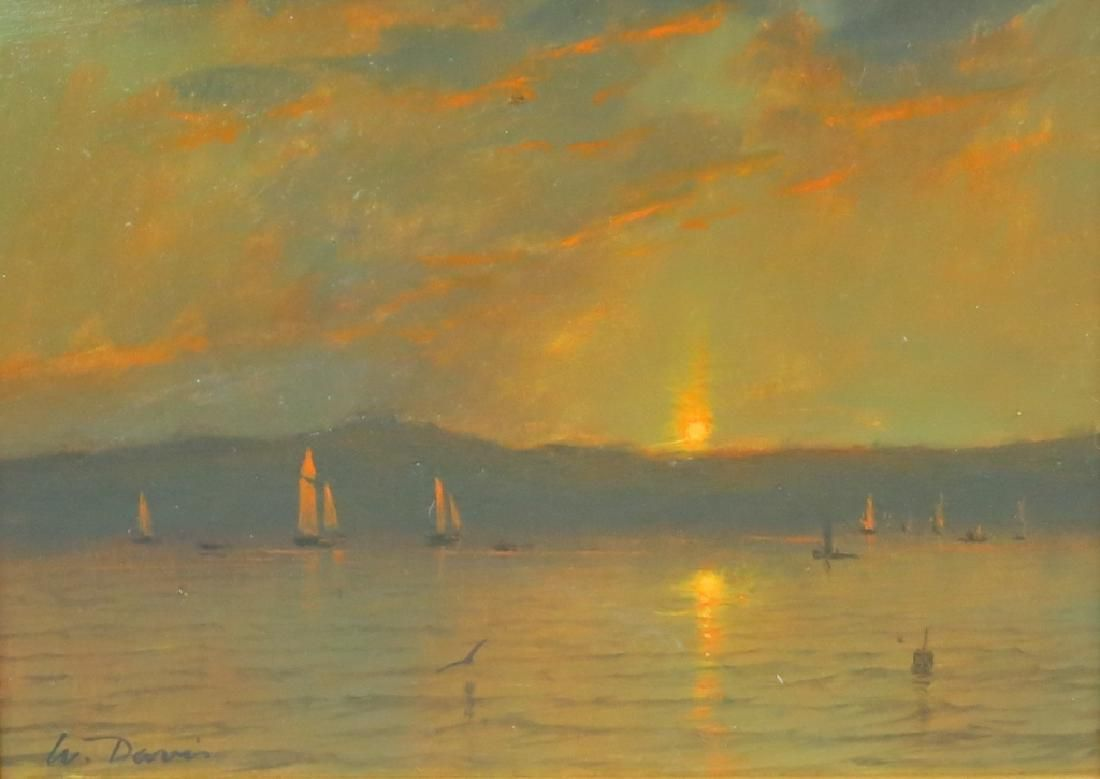 WILLIAM R. DAVIS PAINTING OF BAY SCENE AT SUNDOWN