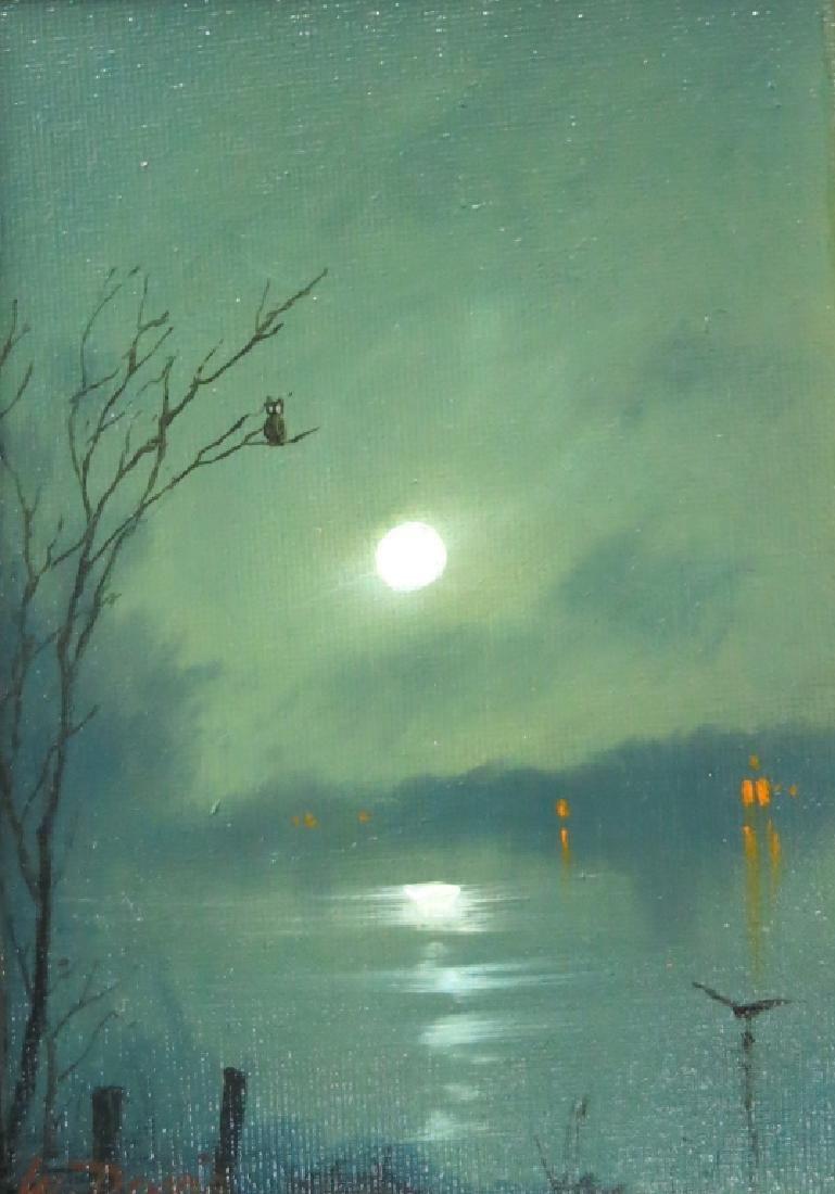 WILLIAM R. DAVIS PAINTING OF A MOONLIT LAKE