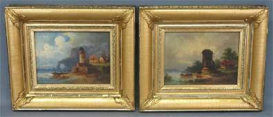 PAIR OF CONTINENTAL SCHOOL OIL PAINTINGS ON CANVAS