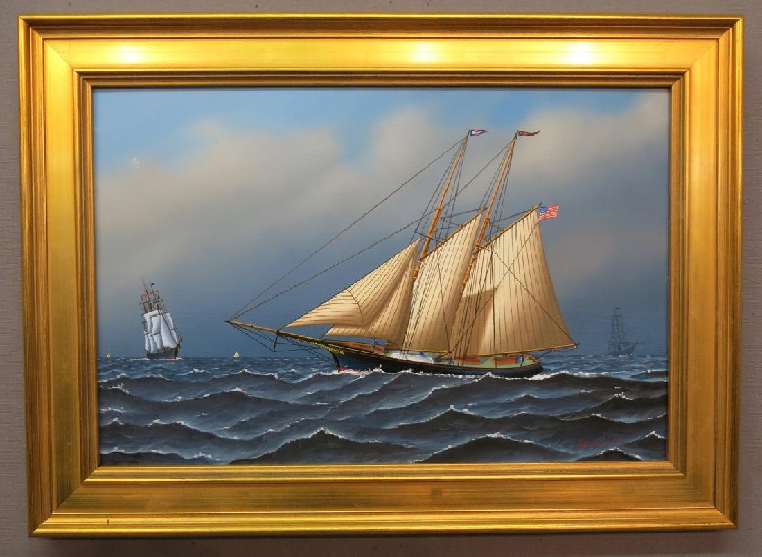 JEROME HOWES PAINTING OF SEVERAL SHIPS A T SEA