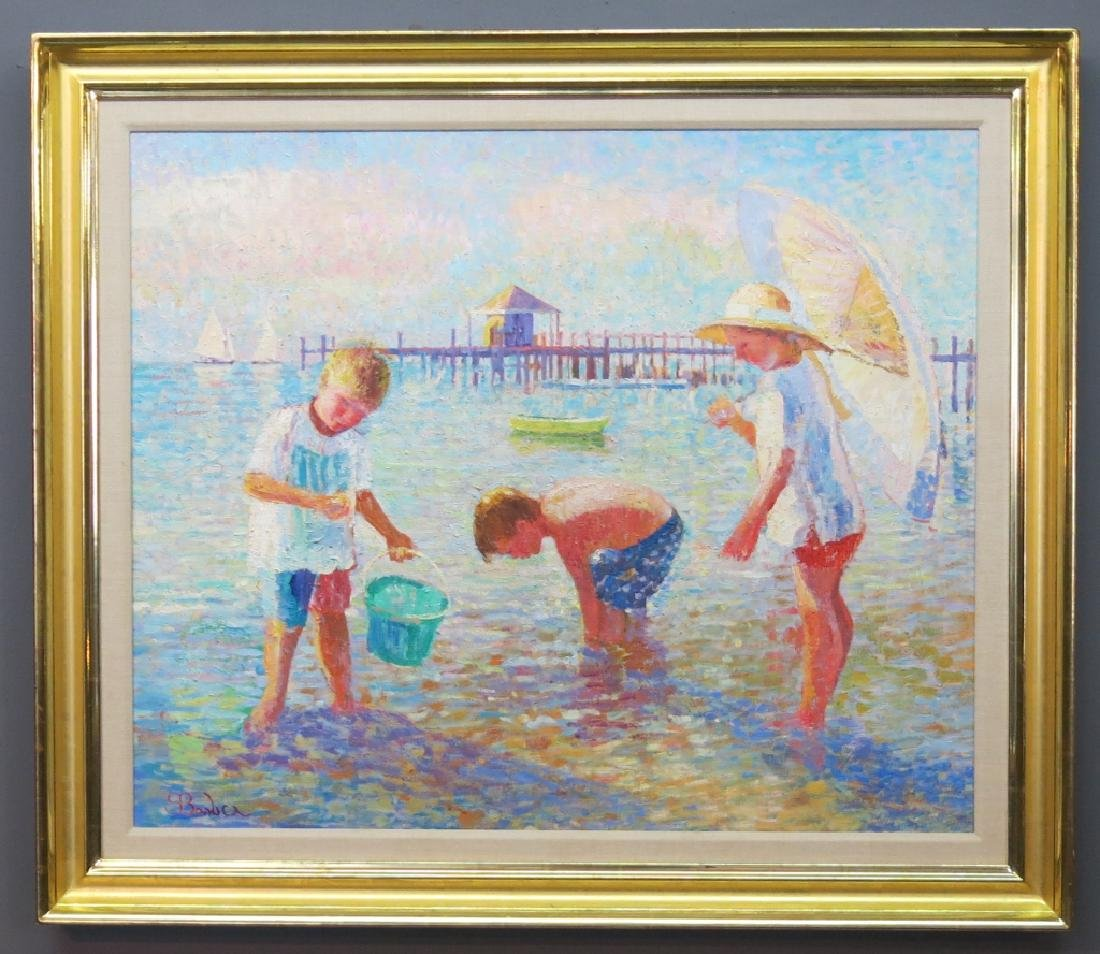 SAM BARBER OIL PAINTING OF 3 CHILDREN ON A BEACH