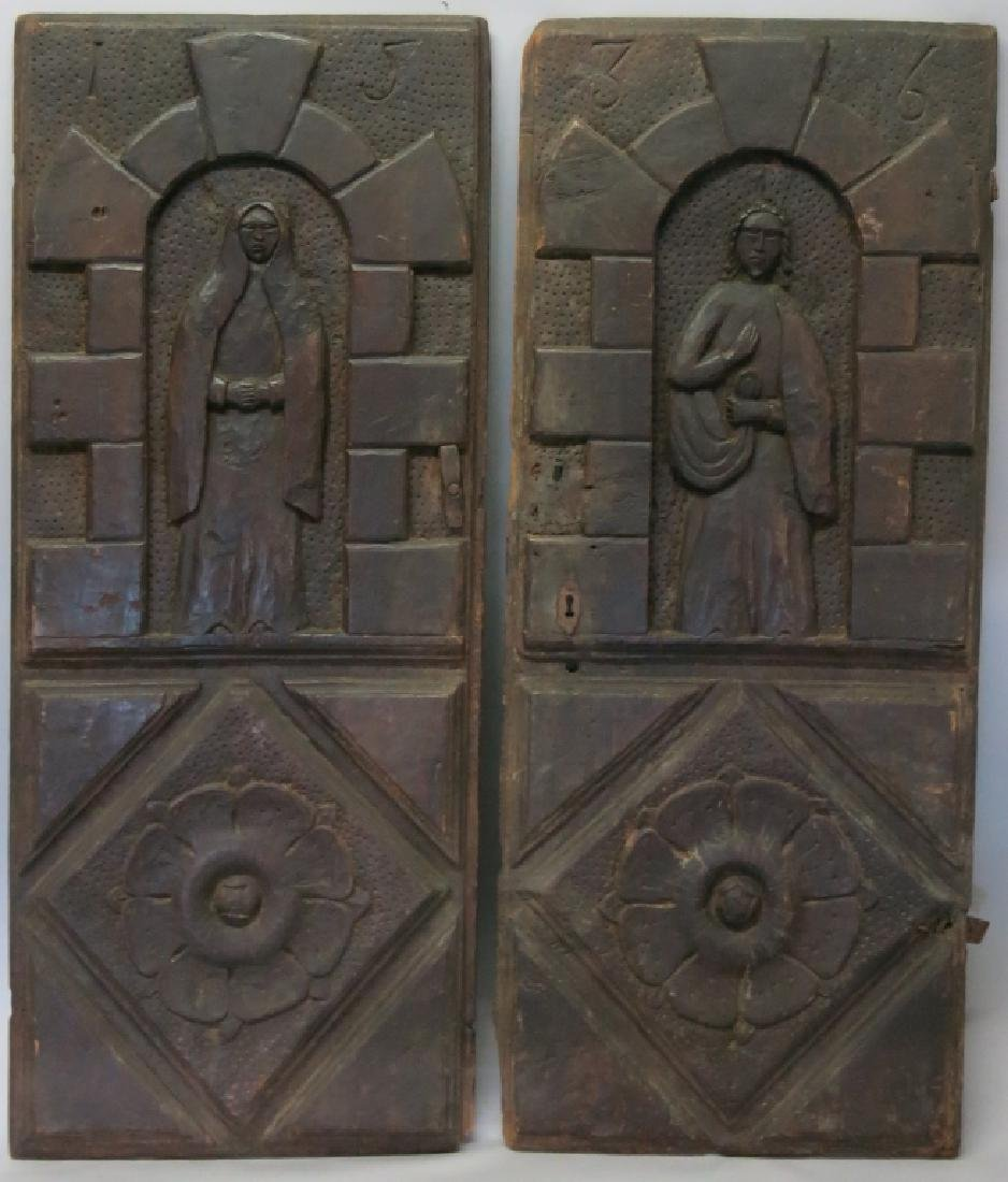 PAIR OF SPANISH COLONIAL CABINET DOORS, DATED 1536