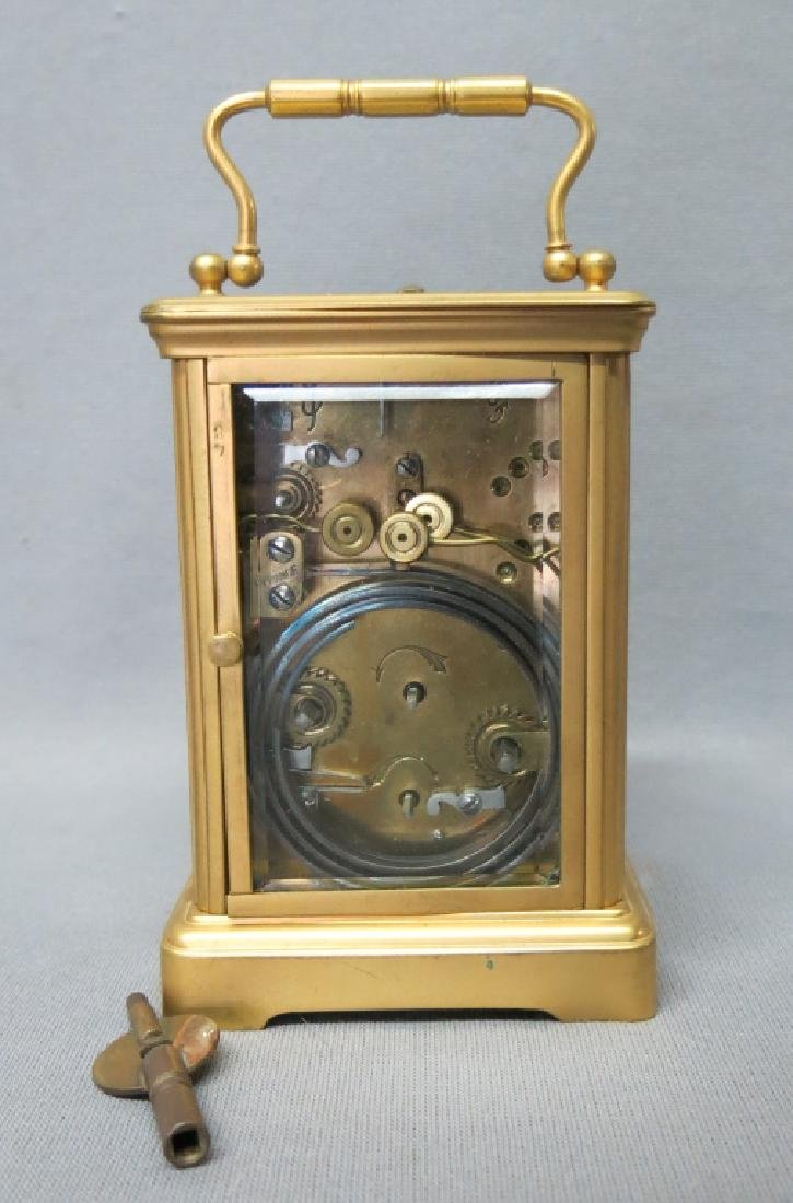 FRENCH POLISHED BRASS REPEATER CARRIAGE CLOCK - 2