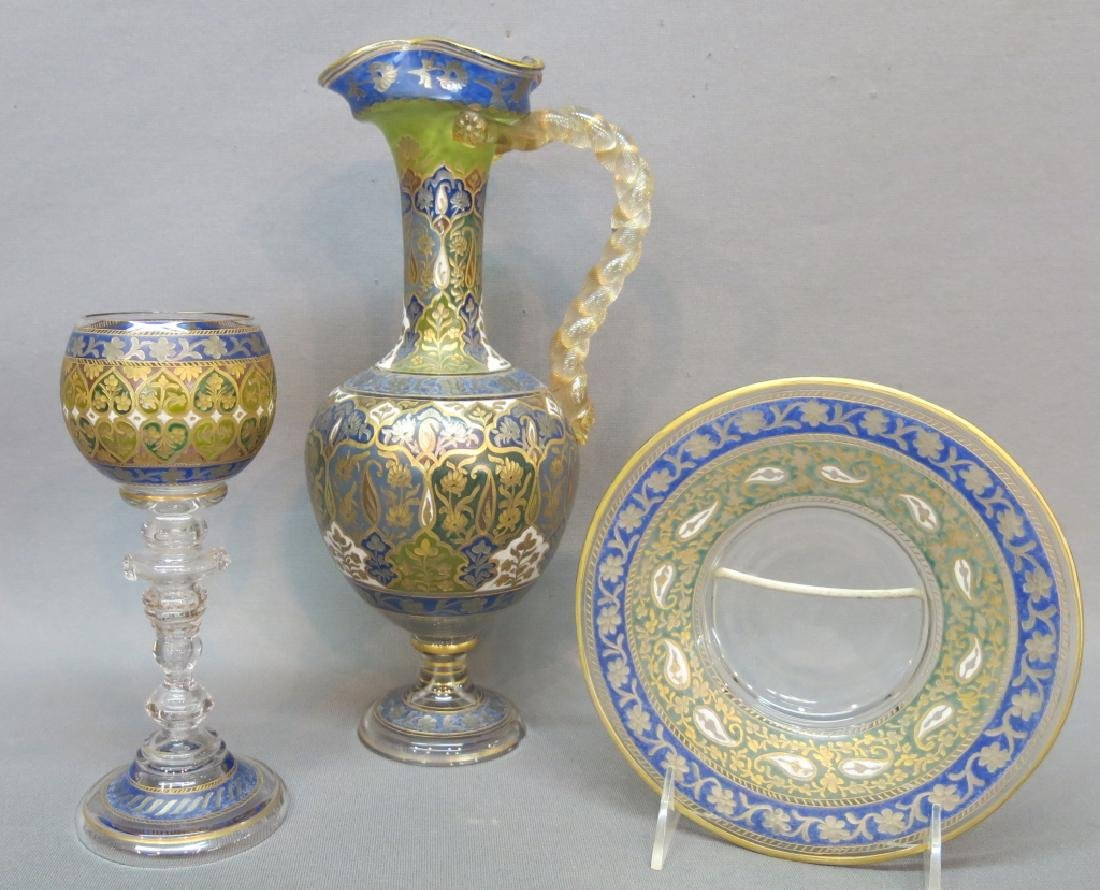 THREE PIECES MOSER TYPE ETCHED & ENAMELLED GLASS