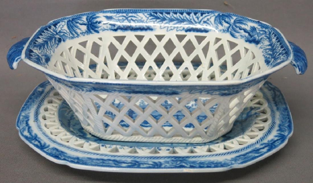FENESTRATED STAFFORDSHIRE BASKET AND UNDERTRAY