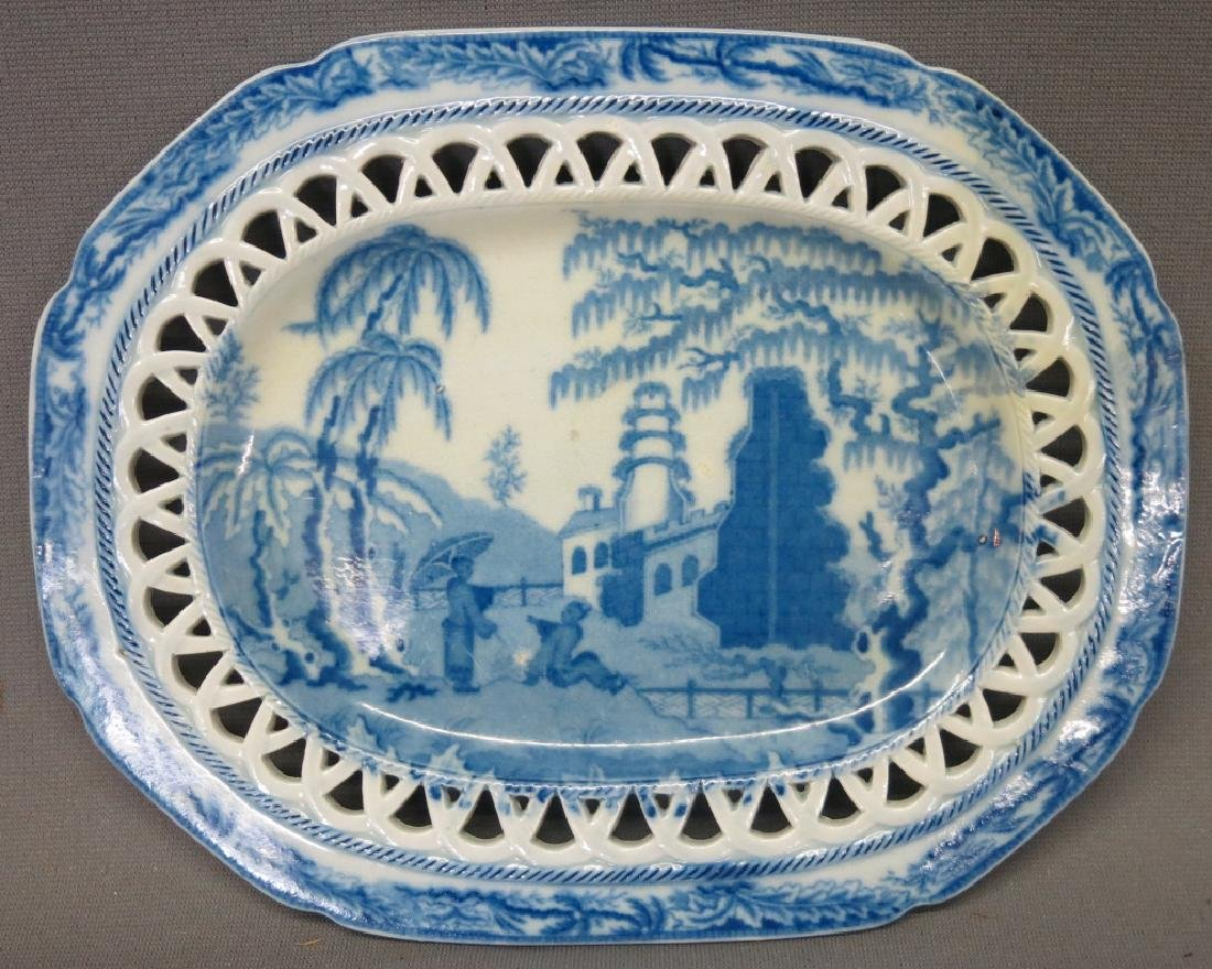 FENESTRATED STAFFORDSHIRE BASKET AND UNDERTRAY - 3