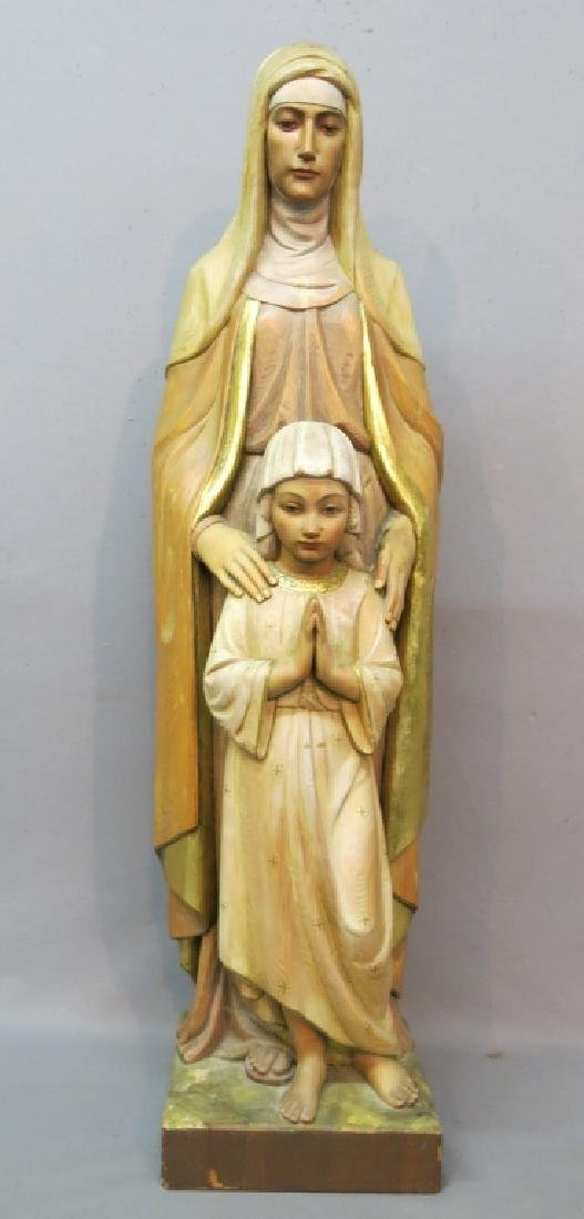 HAND CARVED WOOD STATUE OF MARY AND CHILD