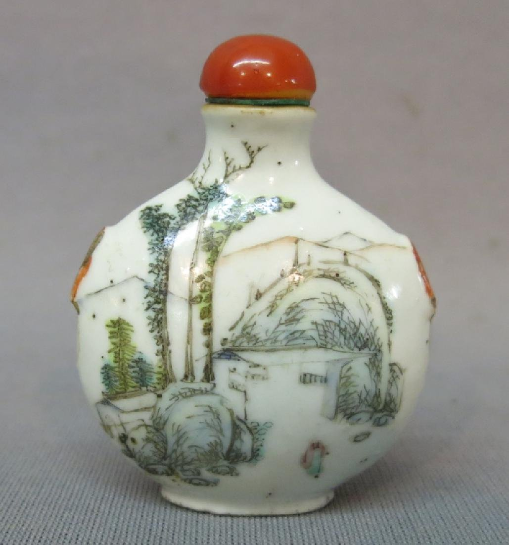 CHINESE PORCELAIN SNUFF BOTTLE , MARKED