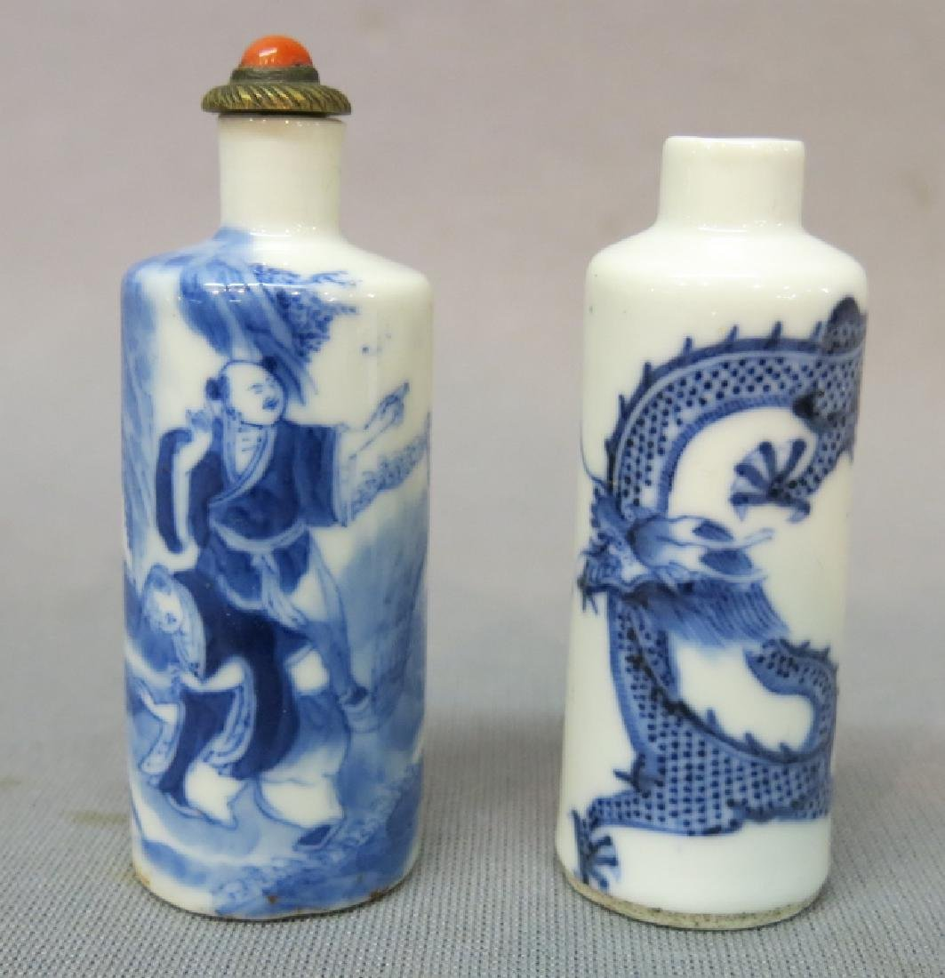 TWO CHINESE BLUE + WHITE PORCELAIN SNUFF BOTTLES