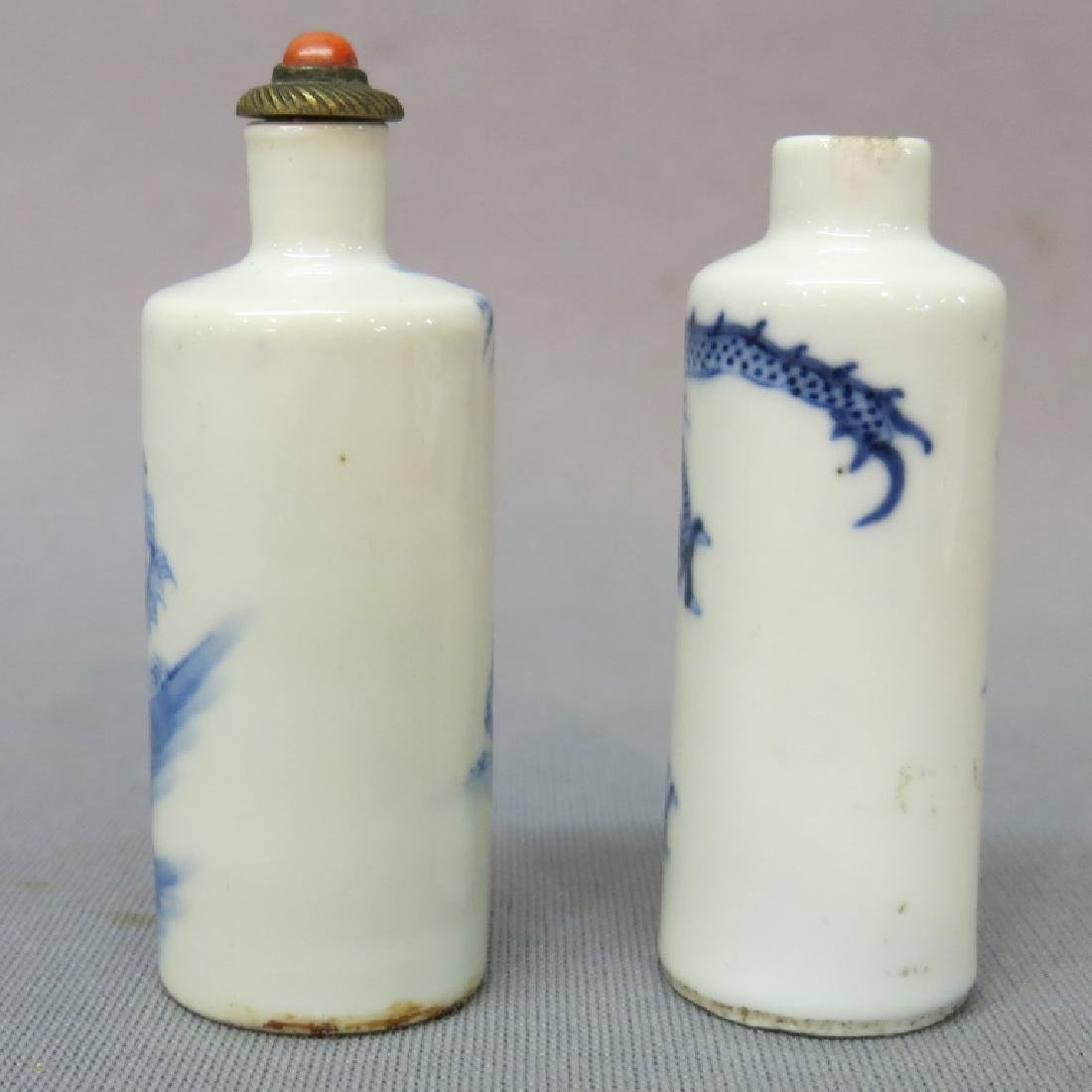 TWO CHINESE BLUE + WHITE PORCELAIN SNUFF BOTTLES - 2