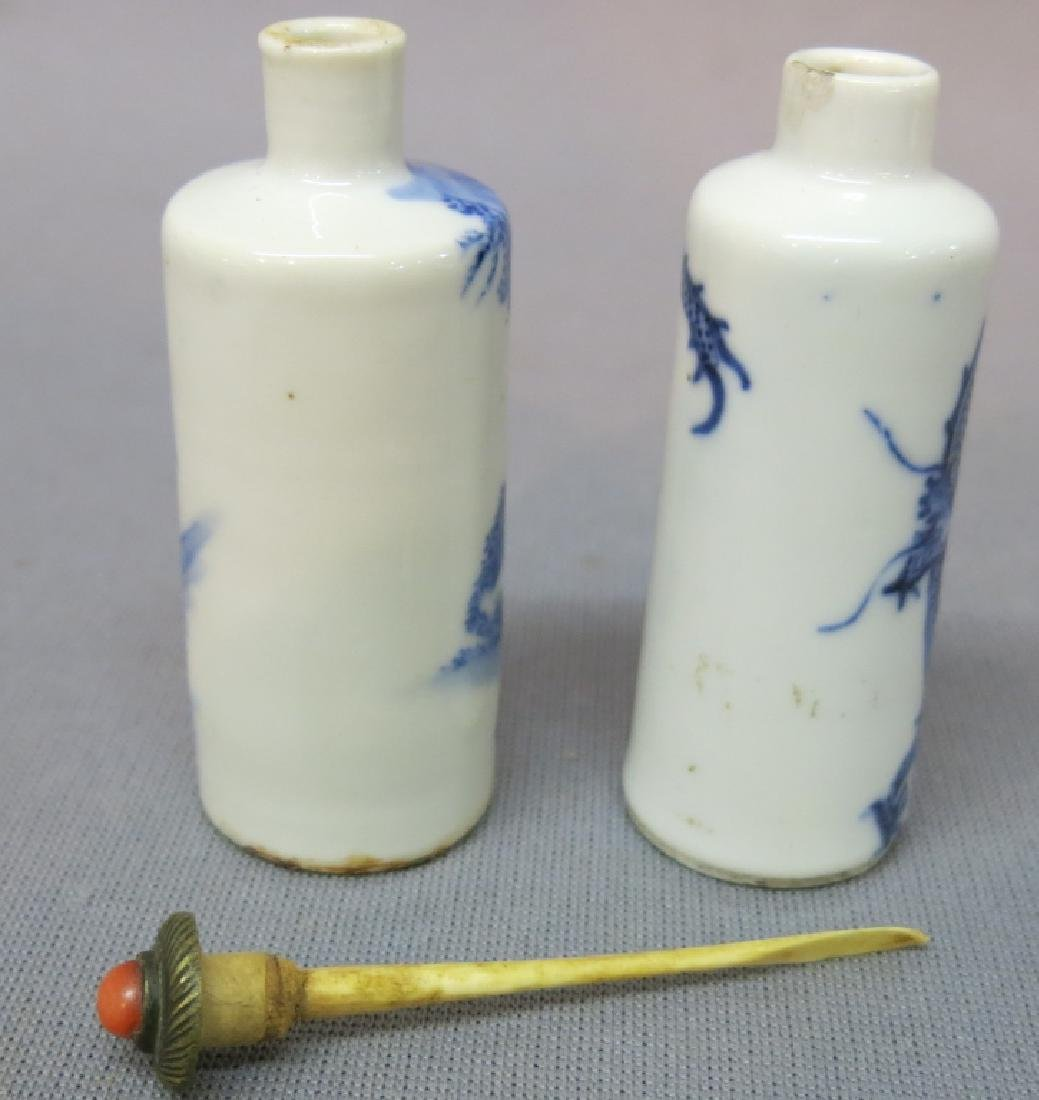 TWO CHINESE BLUE + WHITE PORCELAIN SNUFF BOTTLES - 4