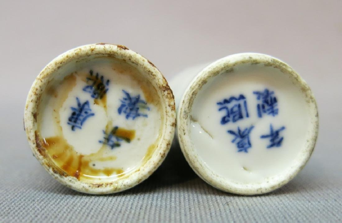 TWO CHINESE BLUE + WHITE PORCELAIN SNUFF BOTTLES - 5