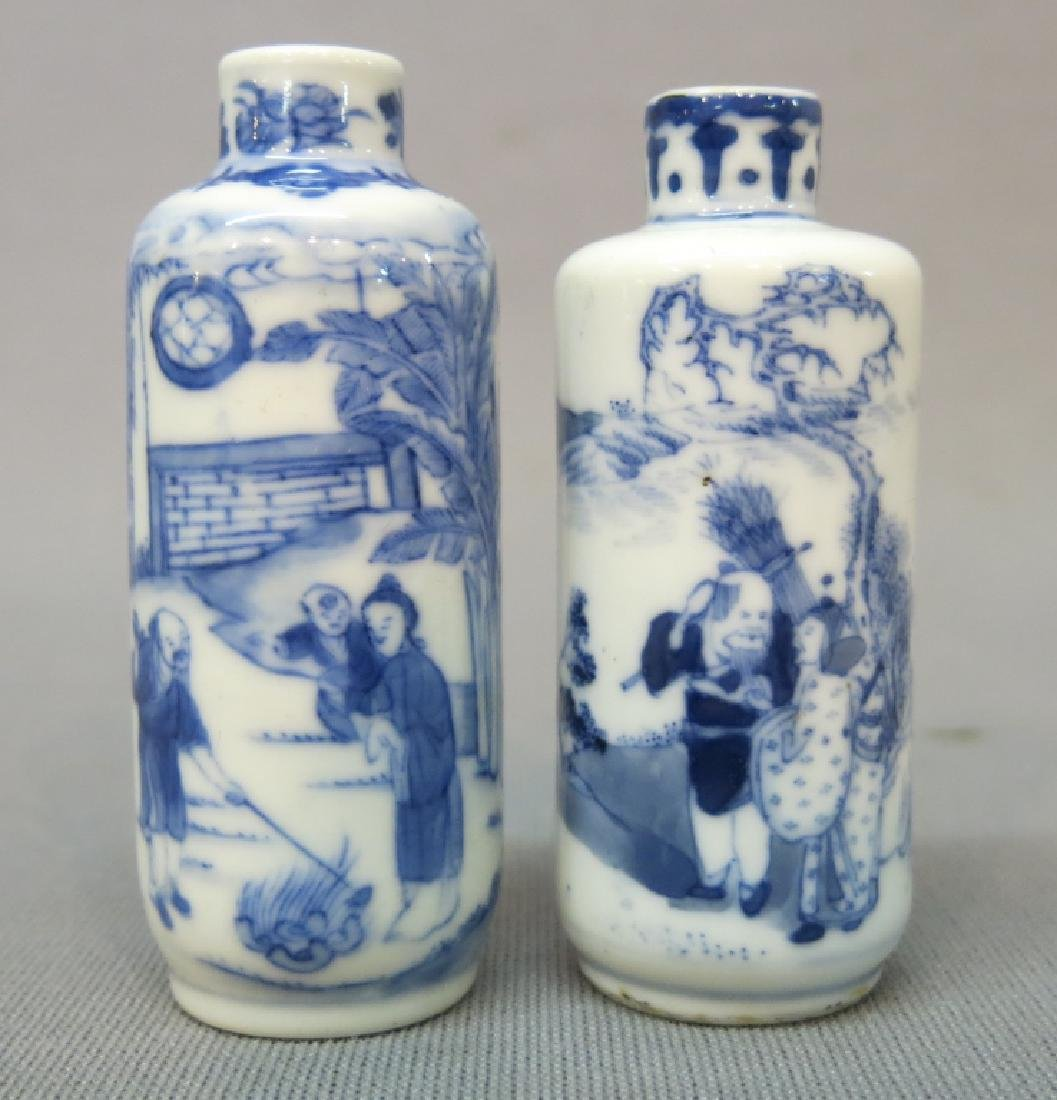 TWO CHINESE PORCELAIN SNUFF BOTTLES, ONE MARKED