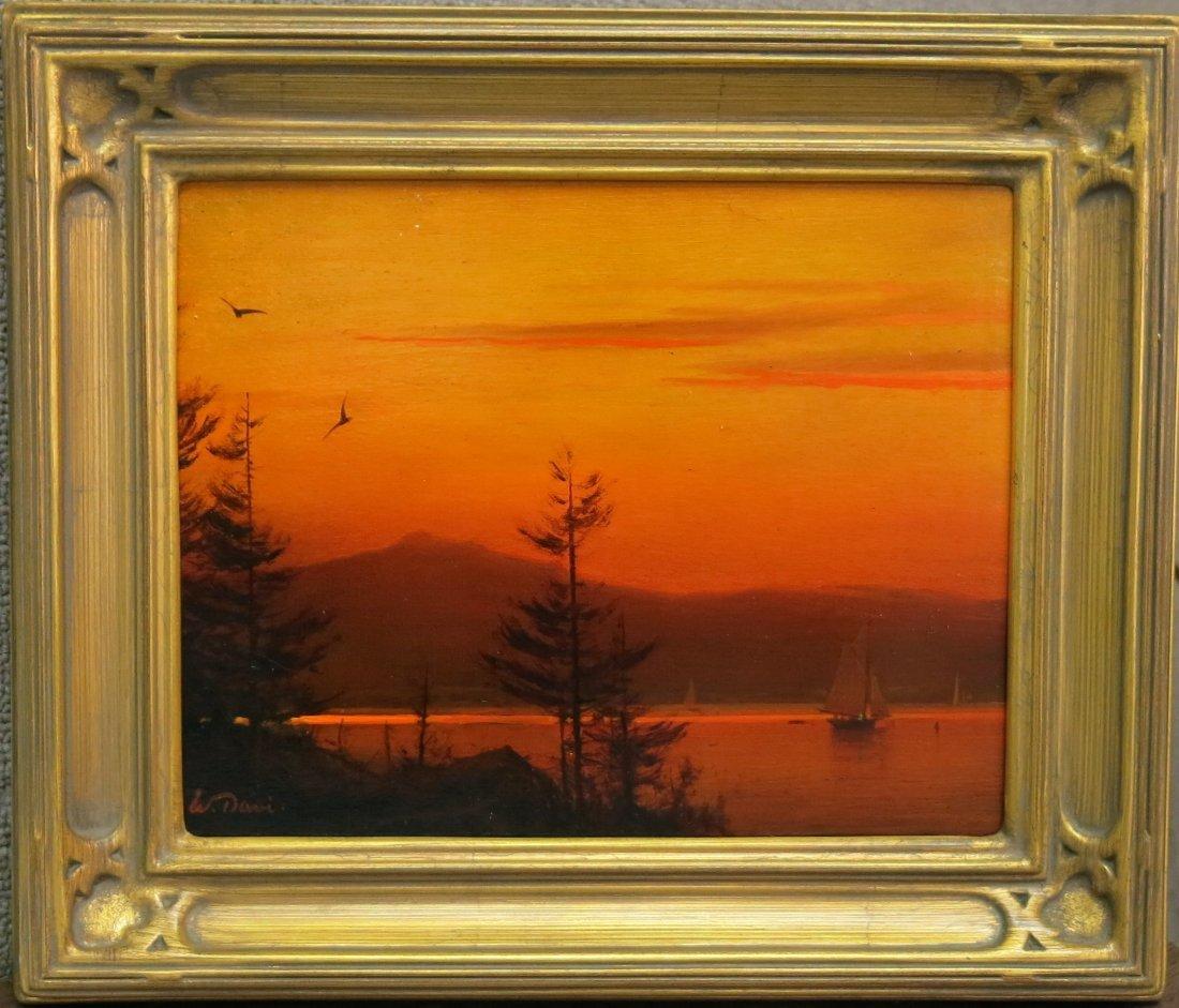 "WILLIAM R. DAVIS PAINTING ""MOUNTAIN LAKE SUNSET"""