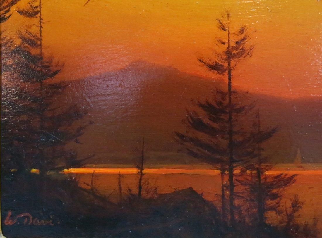"WILLIAM R. DAVIS PAINTING ""MOUNTAIN LAKE SUNSET"" - 2"