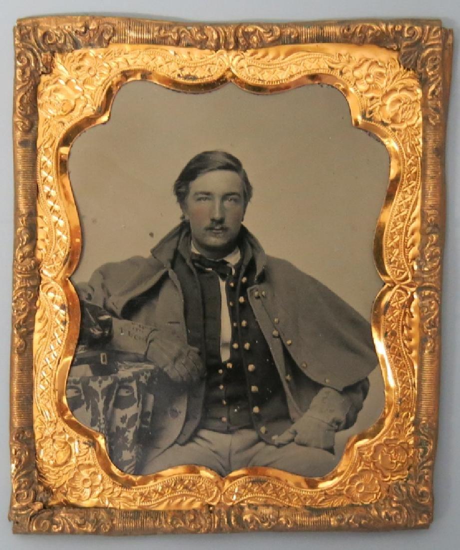 19TH C. TIN TYPE PORTRAIT OF CIVIL WAR OFFICER