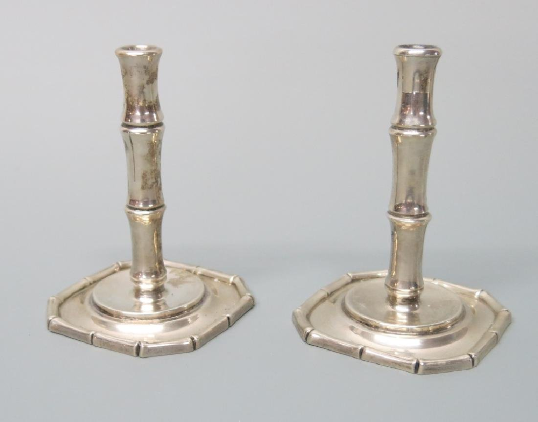 PAIR TIFFANY & CO STERLING SILVER CANDLESTICKS